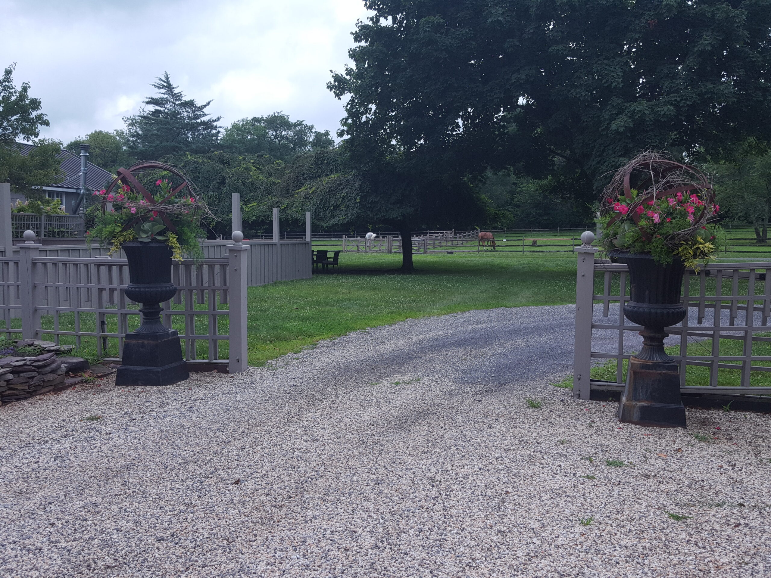 Iron Planters and Sculpture